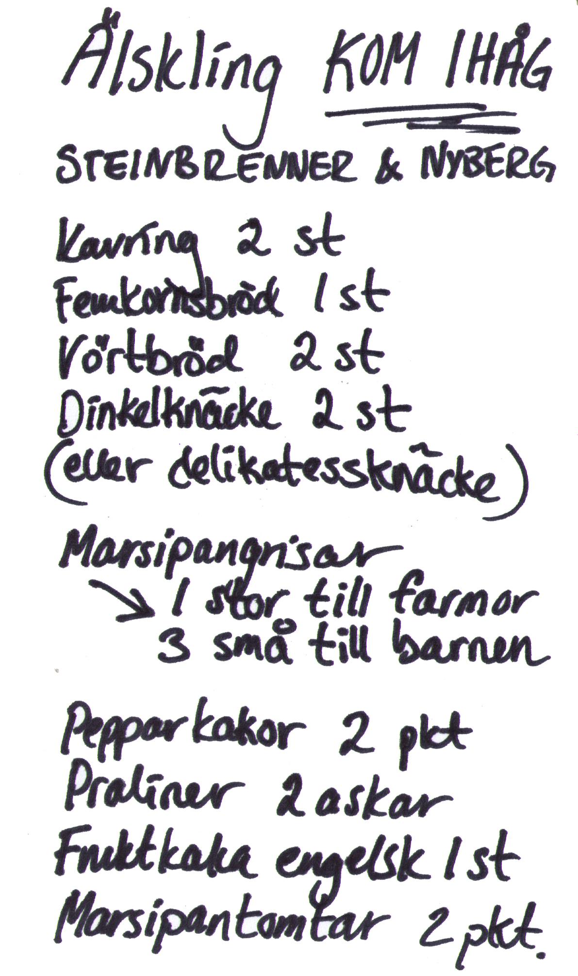 Lista handskriven